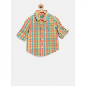 United Colors of Benetton Boys Orange & Green Regular Fit Checked Casual Shirt