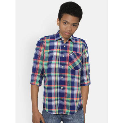UFO Boys Blue & Green Regular Fit Checked Casual Shirt