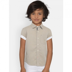 UFO Boys Khaki Regular Fit Solid Casual Shirt