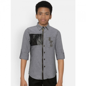UFO Boys Grey Regular Fit Printed Casual Shirt