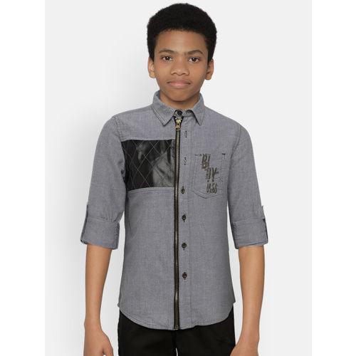 UFO Boys Grey Regular Fit Printed Casual Shirt