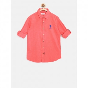 U.S. Polo Assn. Kids Boys Coral Red Regular Fit Solid Casual Shirt