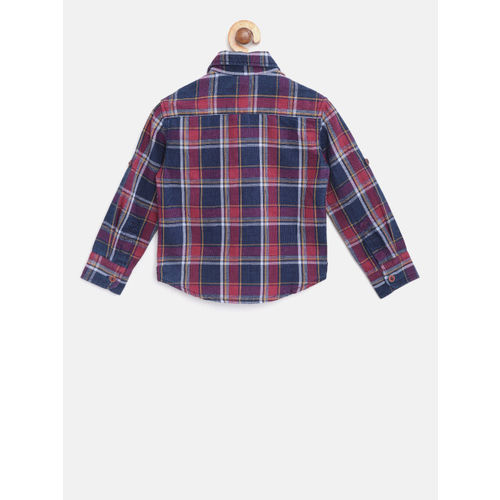 U.S. Polo Assn. Kids Boys Navy & Pink Regular Fit Checked Casual Shirt