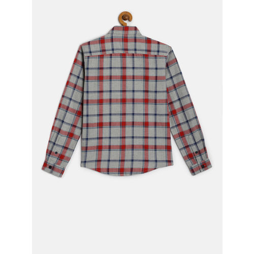 Indian Terrain Boys Grey & Red Regular Fit Checked Casual Shirt