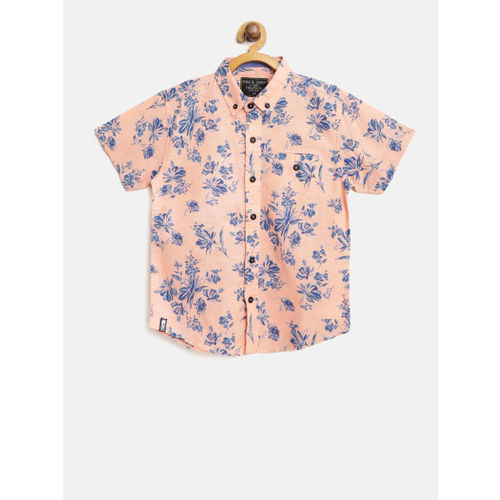 Gini and Jony Boys Peach-Coloured & Blue Floral Print Casual Shirt