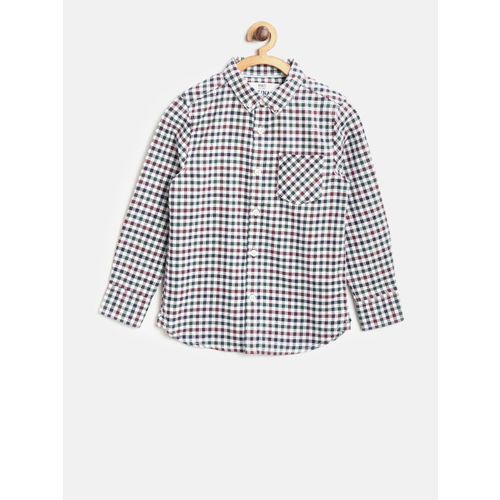 Marks & Spencer Boys Burgundy & Green Regular Fit Checked Casual Shirt
