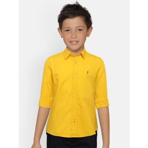 Indian Terrain Boys Yellow Regular Fit Solid Casual Shirt