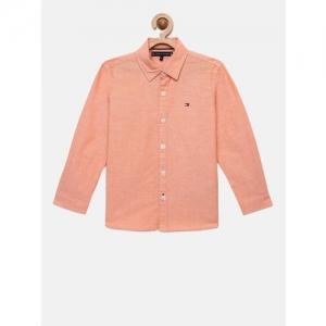 Tommy Hilfiger Boys Orange Regular Fit Solid Casual Shirt