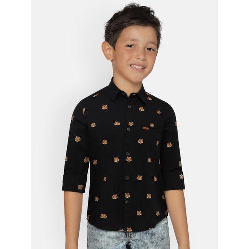 Indian Terrain Boys Black Regular Fit Printed Casual Shirt