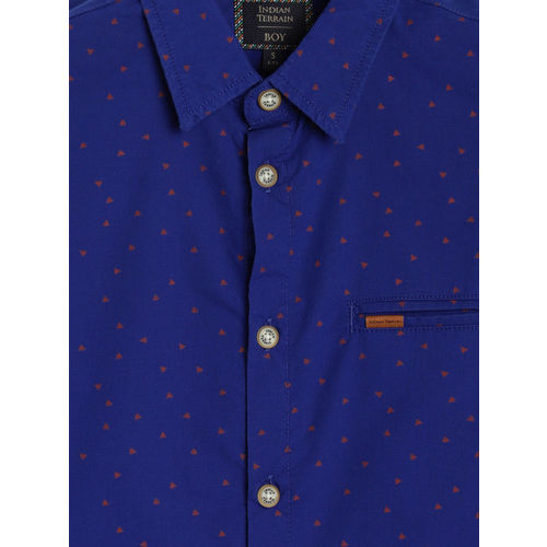 Indian Terrain Boys Blue & Orange Regular Fit Printed Casual Shirt