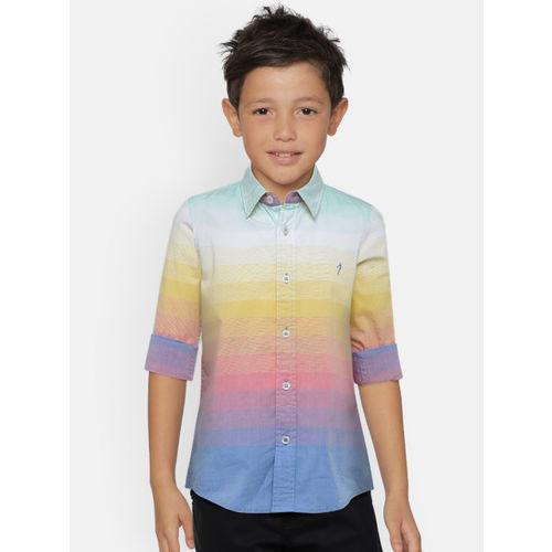 Indian Terrain Boys Yellow & Pink Regular Fit Striped Casual Shirt