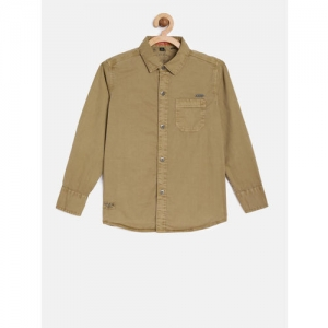 RUFF Boys Brown Regular Fit Solid Casual Shirt