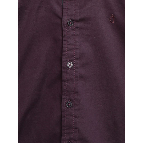 Gini and Jony Boys Aubergina Regular Fit Solid Casual Shirt