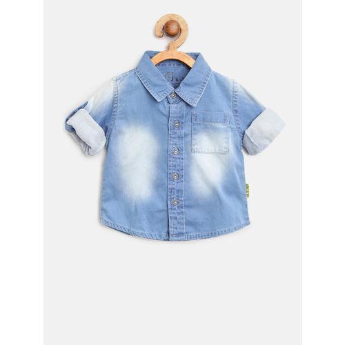 Gini and Jony Boys Blue Regular Fit Faded Denim Shirt