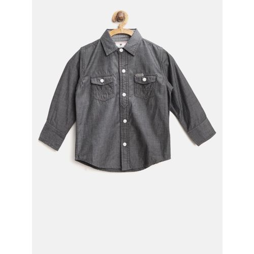 Gini and Jony Boys Charcoal Grey Regular Fit Solid Casual Shirt
