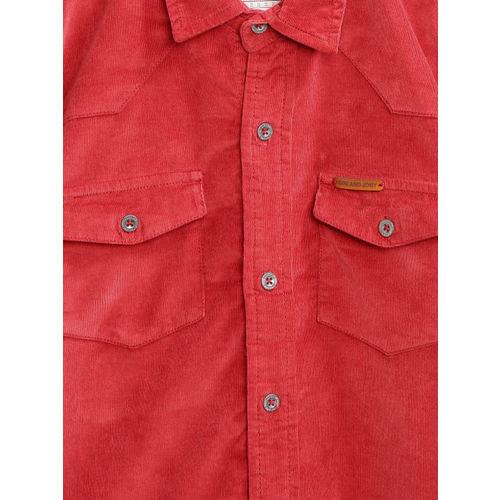 Gini and Jony Boys Red Regular Fit Solid Corduroy Shirt