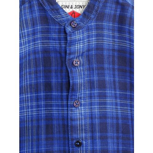 Gini and Jony Boys Blue Regular Fit Checked Casual Shirt