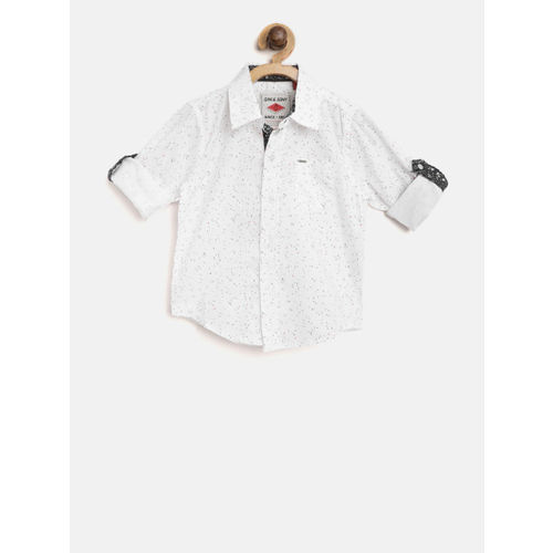 Gini and Jony Boys White Regular Fit Printed Casual Shirt