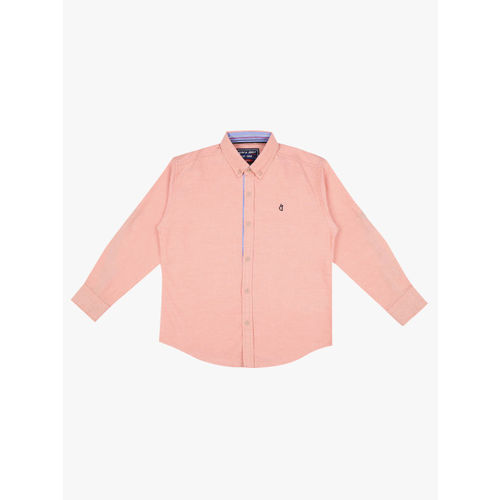 Gini and Jony Boys Orange Regular Fit Solid Casual Shirt