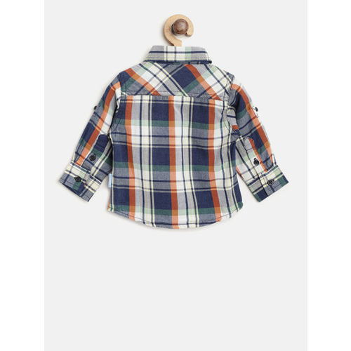 Gini and Jony Boys Navy Blue & Green Regular Fit Checked Casual Shirt