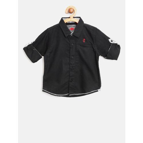 Gini and Jony Boys Black Regular Fit Solid Casual Shirt