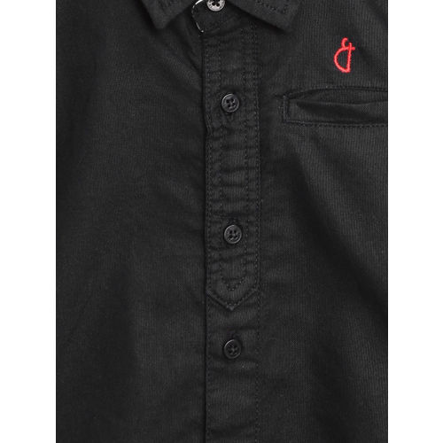 Gini and Jony Boys Black Regular Fit Solid Casual Shirt