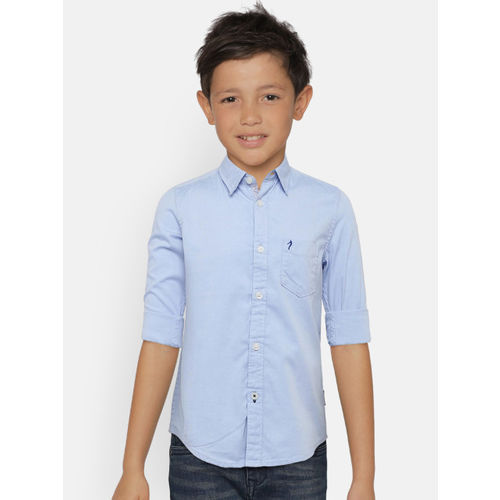 Indian Terrain Boys Blue Regular Fit Solid Casual Shirt