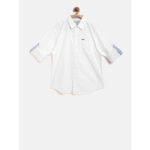 Gini and Jony Boys White Regular Fit Solid Casual Shirt