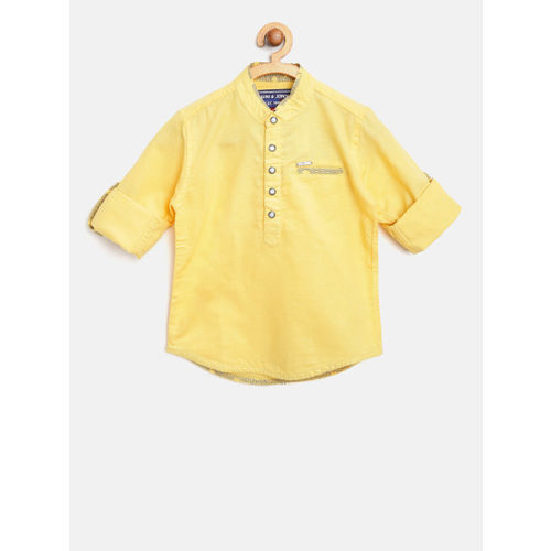 Gini and Jony Boys Yellow Regular Fit Solid Casual Shirt