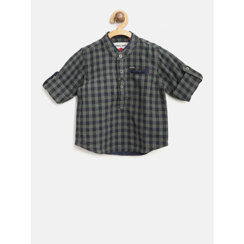 Gini and Jony Boys Olive Green & Navy Blue Regular Fit Checked Casual Shirt