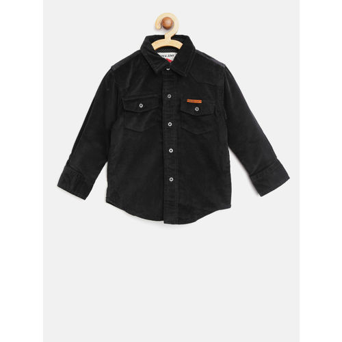 Gini and Jony Boys Black Regular Fit Solid Corduroy Casual Shirt