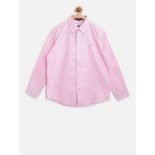 Gini and Jony Boys Pink Regular Fit Solid Casual Shirt
