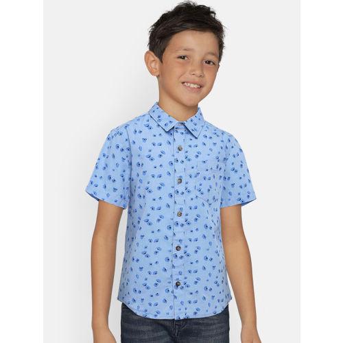 Bossini Boys Blue Regular Fit Printed Casual Shirt