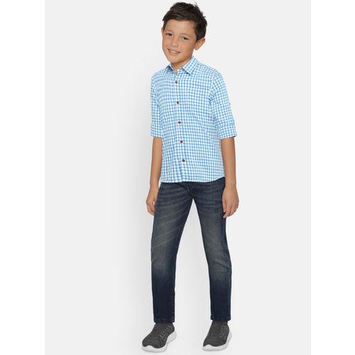 Bossini Boys Blue Regular Fit Checked Casual Shirt