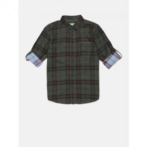 Bossini Boys Green Regular Fit Checked Casual Shirt