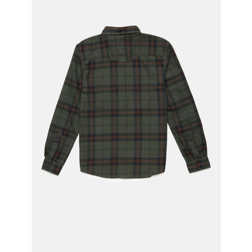 Bossini Boys Green Regular Fit Checked Casual Shirt