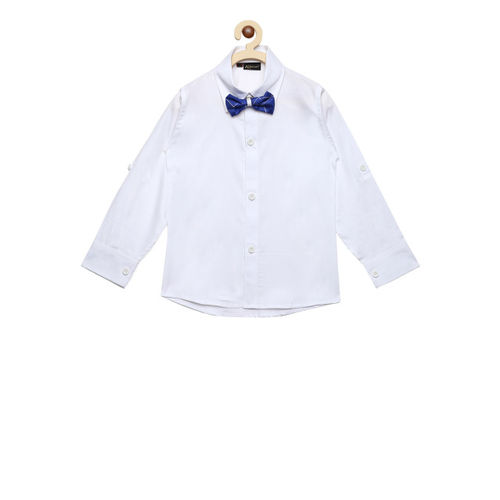 Aj DEZInES Boys White Regular Fit Solid Party Shirt with Waistcoat & Bow Tie