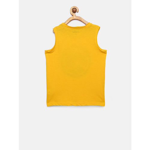 Bossini Boys Yellow Printed Round Neck T-shirt