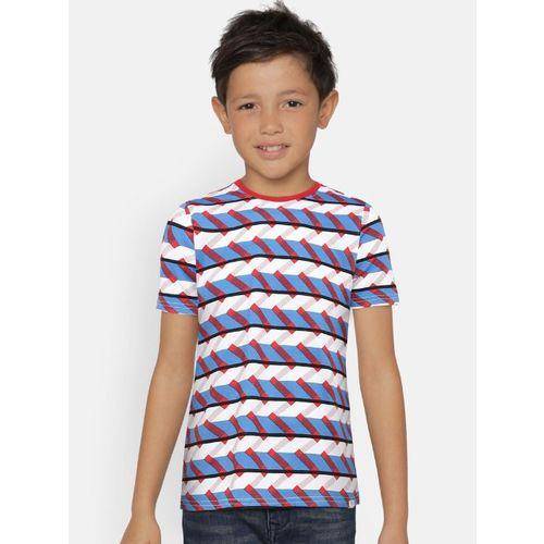 Bossini Boys Blue, White & Red Striped Round Neck T-shirt