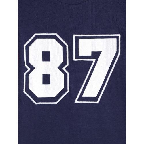 Bossini Boys Navy Blue Printed Round Neck T-shirt