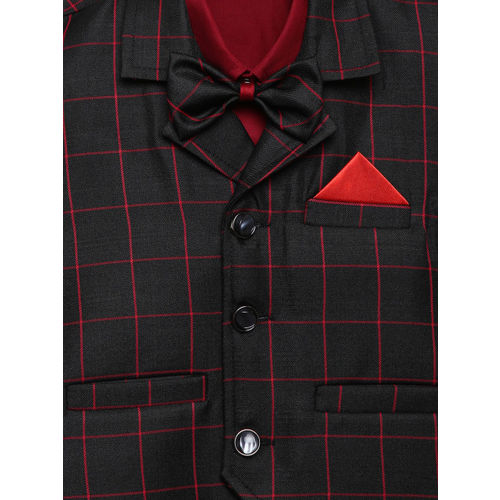 Aj DEZInES Boys Maroon Regular Fit Solid Party Shirt with Waistcoat & Bow Tie