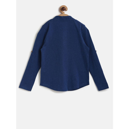 Bossini Boys Navy Blue Solid Henley Neck T-shirt