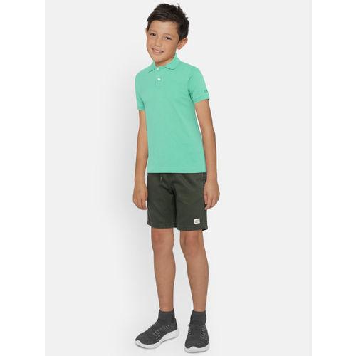 Bossini Boys Olive Green Solid Regular Fit Shorts