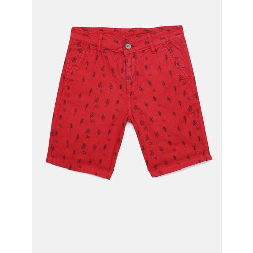 Bossini Boys Red Printed Regular Fit Chino Shorts