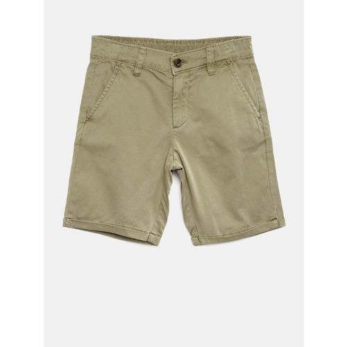 Bossini Boys Beige Solid Regular Fit Chino Shorts
