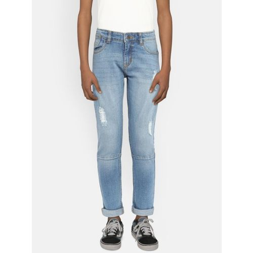 Bossini Boys Blue Slim Fit Mid-Rise Mildly Distressed Jeans