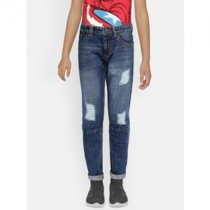 Bossini Boys Blue Slim Fit Mid-Rise Mildly Distressed Jeans
