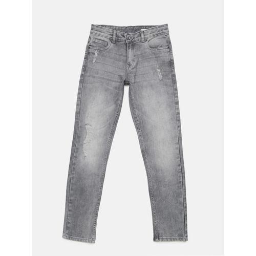 Bossini Boys Grey Slim Fit Mid-Rise Low Distress Jeans