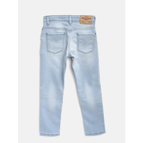 Flying Machine Boys Blue Skinny Fit Mid-Rise Low Distress Stretchable Jeans