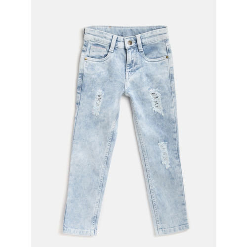 Flying Machine Boys Blue Skinny Fit Mid-Rise Mildly Distressed Stretchable Jeans